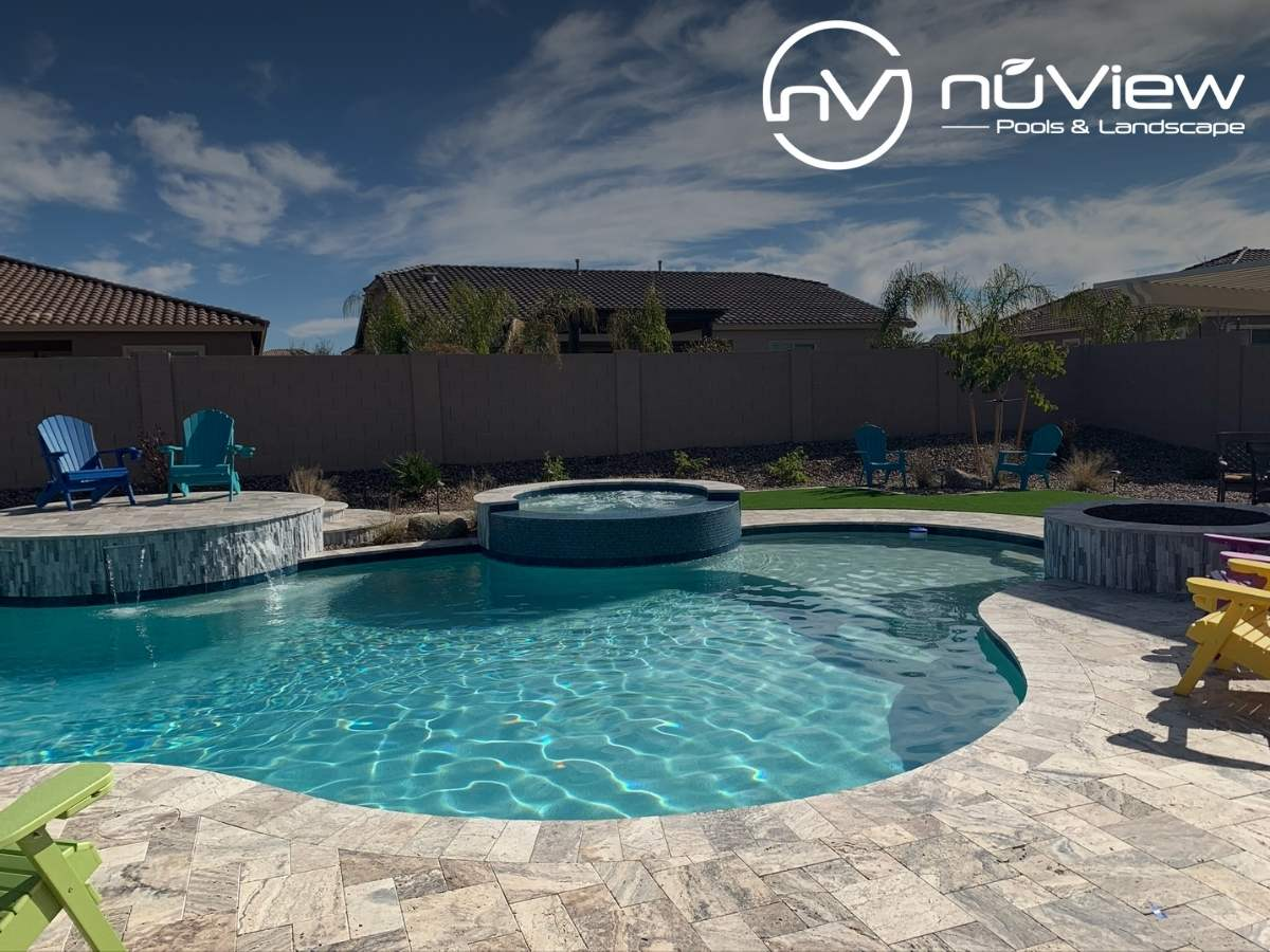 Beautiful Backyard Landscape Design With a Swimming Pool With Water Features In Queen Creek, AZ