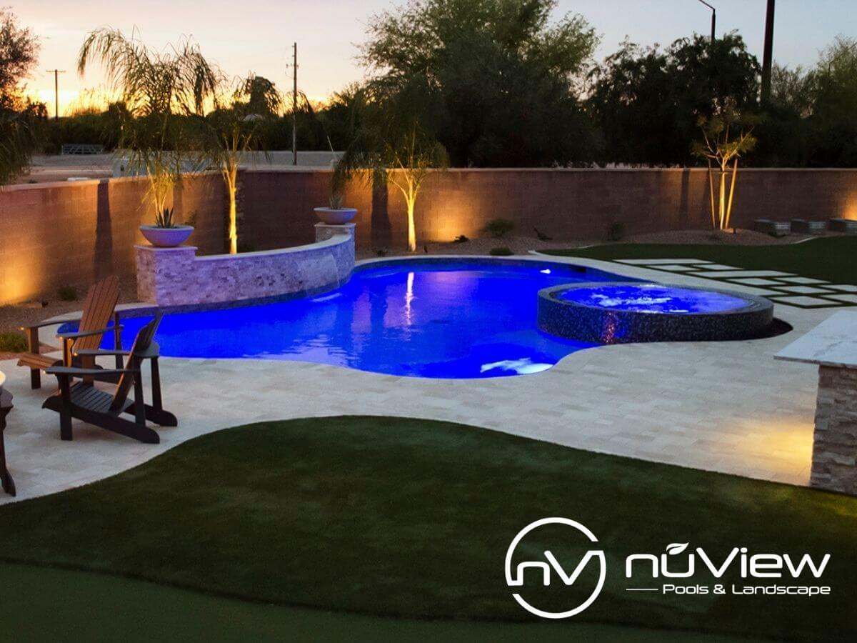 Beautiful swimming pool with custom lighting